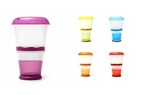 Müsli To Go Becher mit Milch-Kühlfach & Löffel, Müslibecher, Joghurtbehälter, Thermobecher, Müslidose - (Go Gourmet Coffee)