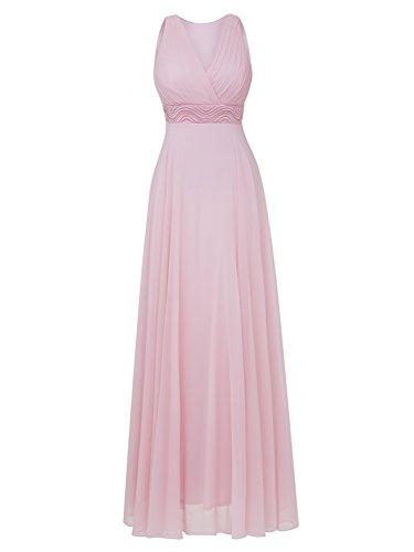 Ärmelloses Perlen (Selighting Damen Lange A-Linie Abendkleider V-Ausschnitt Ärmellose Bodenlange Cocktailkleider mit Perlen in der Taille (Rosa, 42))