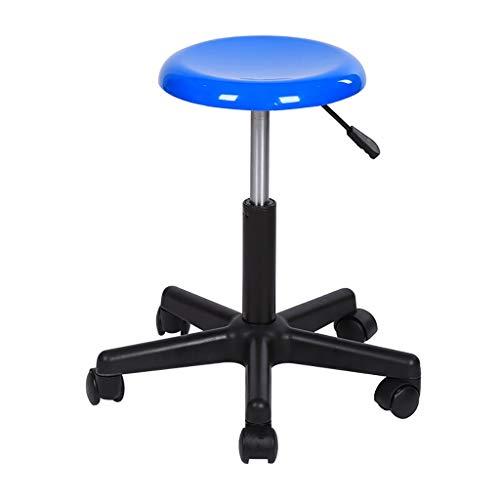 QFdd Glas Stahl Hocker Mit Rollen,Flexible Drehbar Verstellbarer Für Medizin Büro Werkstatt Fabrik Blau Schwarz 50-60 cm