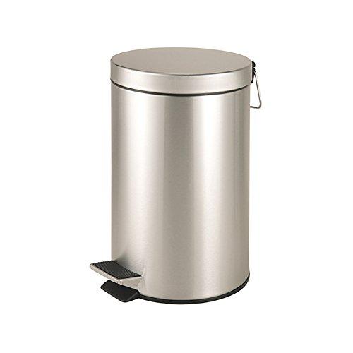 Abfalleimer ca. 12 L silberner Mülleimer - robuster für Küche üder Büro - aus Edelstahl rostfrei glänzend mit Deckel + Kunststoffeinsatz