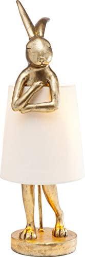 Kare Design bordslampa Animal Kanin, guld, vacker bordslampa i hattform, vit lampskärm, edele bordslampa, (H/B