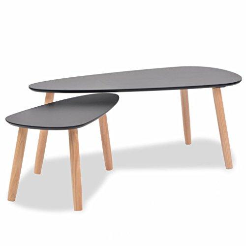 2 Stück Kiefer-tisch (Festnight Schlafzimmer Beistelltisch Satz Tisch Set 2 Stück massiv Kiefer schwarz)