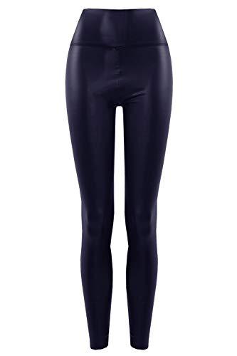 Thermo High Waist Leder Look Hose Schlupfhose Lederoptik 40/42 (3XL/4XL) Blau