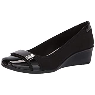 Anne Klein Women's WAKEN Wedge Pump, Black, 9 M US