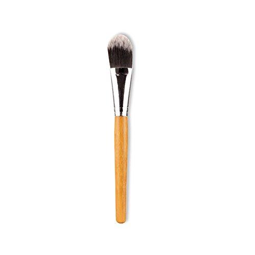Leisial Pinceaux Maquillages Professionnel pour Yeux et Visage Bambou Nylon Tube en Aluminium Jaune