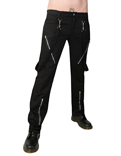 Black Pistol Herren Jeans Hose - Punk Pants Denim Schwarz (Punk Rocker Kostüm Männer)