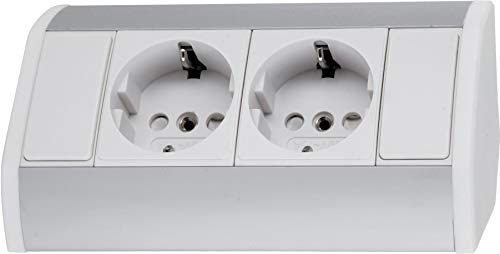 Aufbau Aluminium Steckdosenleiste 2-fach - horizontal + vertikal - 230V 3680W - weiß-silber -