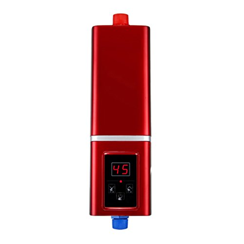 Roscloud@ 5500 Watt 220 V Elektrische Warmwasserbereiter Sofortige Duschpaneel System Kit Tankless Warmwasserbereiter Badezimmer Für Küche, Barber Shop, Camping (Farbe : Red, Größe : 5.5kw)