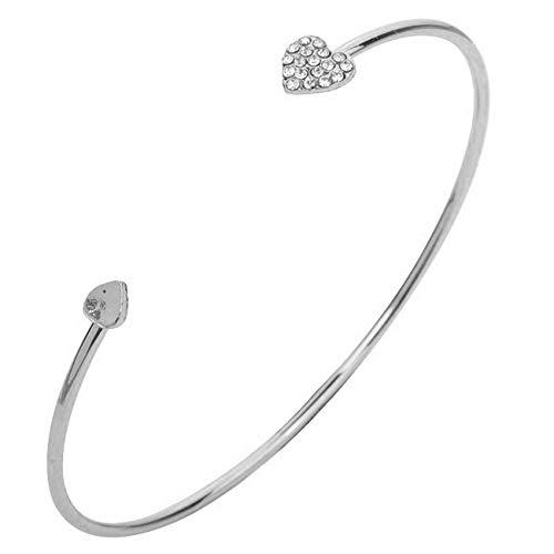 Sunwd Bracciale da donna, Braccialetto Bracciali Adjustable Crystal Double Heart Bow Bilezik Cuff Opening Bracelet Hot Women Jewelry Gift Mujer Pulseras silver