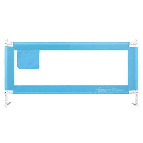 Bed Fence für Single/Twin / Double/Queen / King-Bett, Metall Extra Tall Kinderbett Sicherheitsschienen, Verstellbare Bedrail für Kinder Baby (Farbe : Blau, größe : 200cm) -