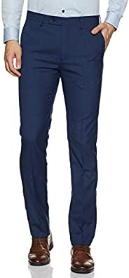 Arrow Men's Pleat-front Slim Fit Formal Trousers, Navy