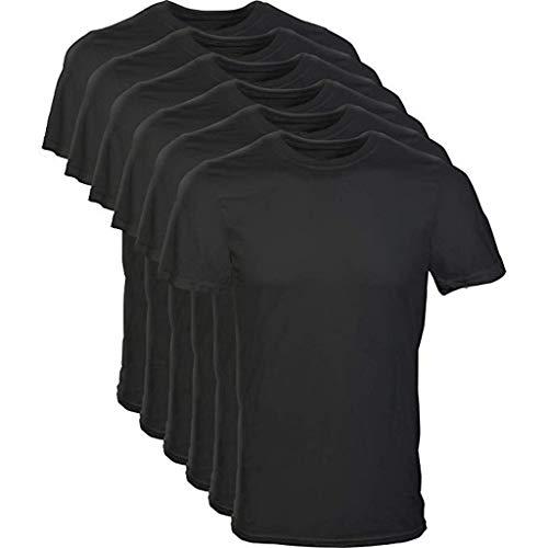 Eaylis Herren T-Shirt Tops Sommermode Rundhals Einfarbig Komfortable Baumwolle Kurzarm-Shirt 6 StüCk
