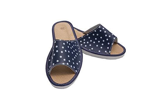 ab-soft absoft Hausschuhe für Damen 100% Pantoffeln Öko-Leder (40 EU, Marineblau und Weiß)