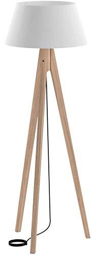 Homcom Lampadaire trépied Design scandinave dim. 52L x 52l x 146 cm 40 W Max. Bois Massif pin Abat-Jour Toile Lin Beige