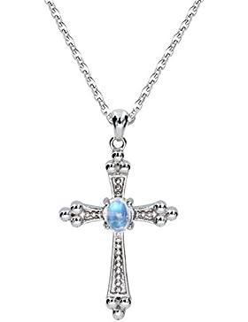 Luna Azure Echt Edelstein Natürlich Mondstein 925 Sterling Silber Kreuz Anhänger Halskette 18