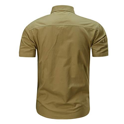 Beikoard Camicia Uomo Bottone O Collo Maglietta Camicetta da Uomo Camicia a Manica Corta Militare Tinta Unita da Uomo Camicia da Uomo Boss(Cachi,XL)