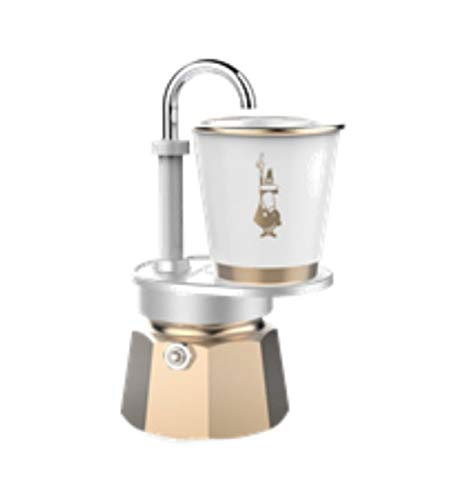 Bialetti Mini Express - Espresso Maker 1 Cup Gold & 1 Porcelain Espresso Cup White with Gold Trimming