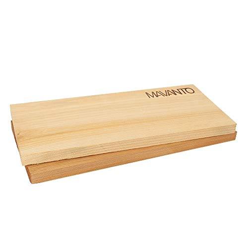 31vFK4tfSCL - MAVANTO® XXL Grillbretter Räucherbretter - Kanadisches Zedernholzbrett zum Grillen - EXTRA DICK (30x14x1,5cm) langlebig & wiederverwendbar (2er Set)