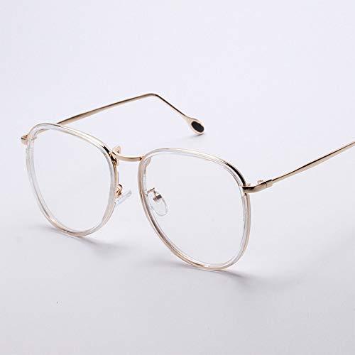 YMTP Retro Kreis Augenglasrahmen Männer Frauen Metall Optischen Rahmen Mode Übergroßen Gläser Transparent, Silber