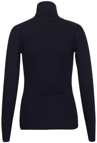 femmes Polo TORTUE Haut col roulé uni côtelé manches longues femme extensible haut t-shirt Noir