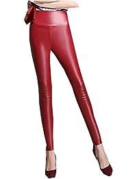 Pantalon en Similicuir pour Dames Stretch Fashion Élastique Fit Slim  Pantalon en Cuir en Cuir De a0cfdf8ad441