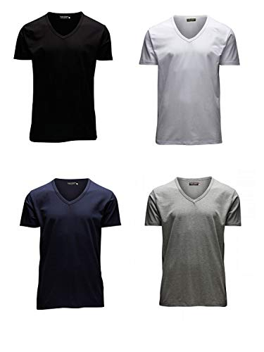 100% Baumwolle V-neck Tee (JACK & JONES Herren T-Shirt Basic 4er PACK O-Neck V-Neck Tee (M, 4er V-NECK Mix))