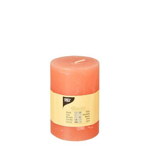 """6 Zylinderkerze Ø 70 mm, 100 mm nektarine """"Rustic"""" durchgefärbt 84685 Papstar Stumpenkerze"""