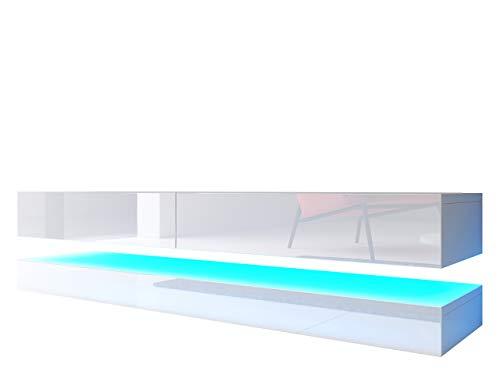 Mirjan24  TV Schrank Flow, Fernsehschrank mit LED-Beleuchtung, TV Lowboard mit Grifflose Öffnen, Hochglanz Matt Hängeschrank Wohnwand (Weiß/Weiß Hochglanz)