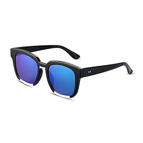 Nykkola Fashion Lunettes de soleil avec verres polarisés Miroir carré Lentilles UV400Lunettes Lunettes, bleu