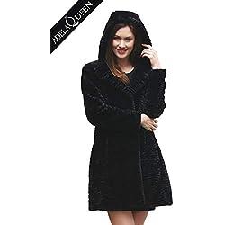 Adelaqueen Estupendo Chaqueta de Piel Abrigo Tres Cuartos de Invierno de Piel de Cordero Persa Sintética en Negro y con Capucha Para Mujer Talla Chaqueta Piel Sintética Mujer Faux Fur Coat Abrigos-XL