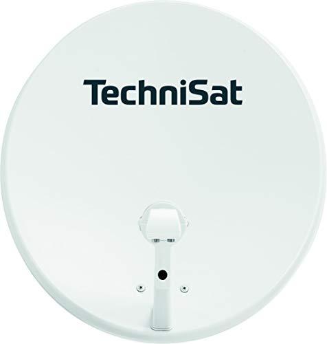 TechniSat TechniTenne 60 Satellitenschüssel (60 cm digital Sat Anlage / Antenne mit Masthalterung und Universal Twin LNB für bis zu zwei Teilnehmer) lichtgrau