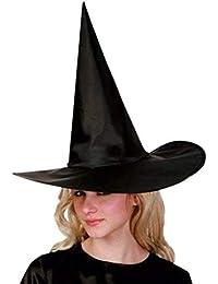 ALeis Sombreros de Fiesta, Adulto Mujer Negro Gorro de Bruja para Halloween Disfraz Accesorio Capucha