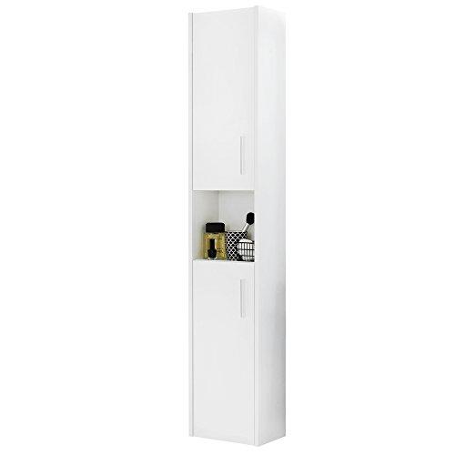 *trendteam smart living Badezimmer Hochschrank Schrank Jersey, 30 x 148 x 19 cm in Korpus Weiß Melamin, Front Weiß Hochglanz mit viel Stauraum*