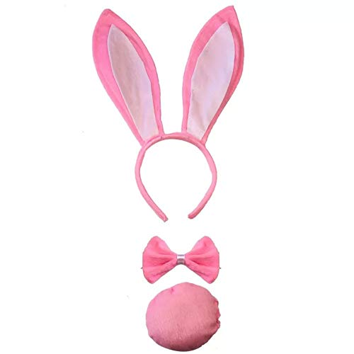 Rosa Bunny Kostüm - thematys Bunny Hasen Kostüm Set 3-teilig in 4 Erwachsene und Kinder - Haarband, Schwanz und Fliege - perfekt für Fasching, Karneval & Cosplay (Rosa)