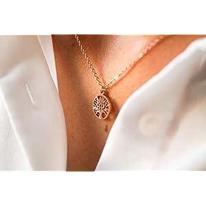 Damen Kette in Rosegold - Filigrane Halskette für Frauen mit Lebensbaum Anhänger - Made by Nami Handmade Schmuck - Geschenk zum Geburtstag (Rosé-Gold Baum)