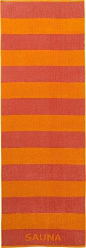REDBEST Saunatuch, Strandtuch, Badetuch Edinburgh orange-Terra, Größe 70x200 cm - weich und flauschig, saugstark, strapazierfähig, beidseitige Schlaufen (weitere Farben) (Orange Gestreifte Badetuch)