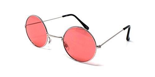 UltraByEasyPeasyStore Silberrahmen Mit Rosa Linsen Kleine Stil Erwachsene Retro Runde Sonnenbrille John Lennon Vintage Look Qualität UV400 Elton Brille Herren Damen Klassische Unisex Brillen