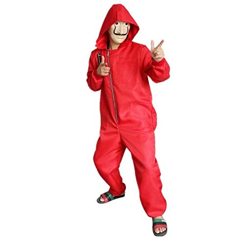 Wiokslms La Casa De Papel Kostüm Mit Salvador Dali Maske Geldraub The Paper House Hallowen Cosplay Party Kostüm Rot Overall Für Erwachsene - House Party Kostüm