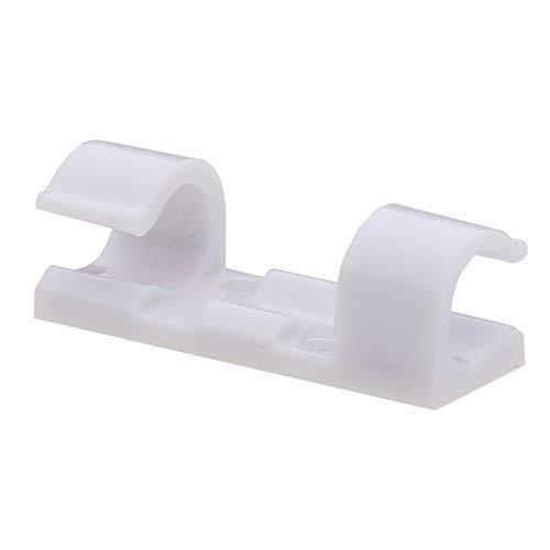 Titan Grip Selbstklebend Kabelschellen / Kabel-clips, Weiß, 20 Stück Kabelhalter für Haus, Büro, Auto, PC. Anbringen an Wand oder Schreibtisch für Kabelmanagement