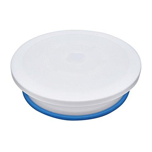 Tortenplatte drehbar Ø 28cm - Kuchenplatte aus Kunststoff zum Drehen - Tortenständer Drehteller in Weiß – Maße: 28 x 8,4 cm - Culina Tools