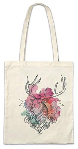 Urban Backwoods Deer Diamond and Roses Hipster Bag Beutel Stofftasche Einkaufstasche -