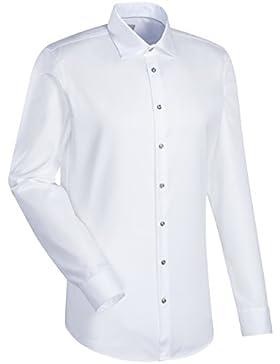 JACQUES BRITT Business Hemd Custom Fit 1/1-Arm Bügelleicht Uni / Uniähnlich City-Hemd Kent-Kragen Manschette weitenverstellbar