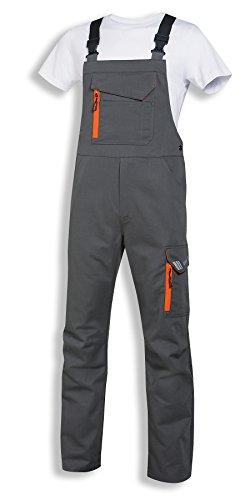 uvex Safety metal Arbeitshose | Latzhose für Herren und Damen | Unisex-Sicherheitshose mit elastischem Bund | Grau-Orange | Größe 60/62