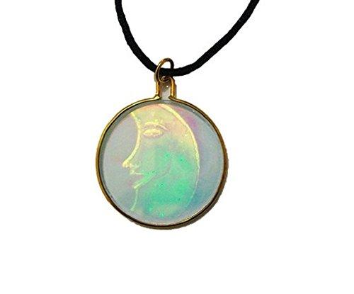 3D Vintage Hologramm Holographisches Mond Anhänger Halskette Schmuck Geschenk