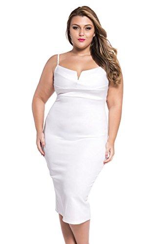 Cfanny Femmes Plongeant Col V Cami Sangle Robe Moulante Blanc