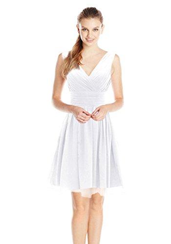 Dressystar Robe femme, Robe de soirée/ de bal courte, col en V, en Mousseline Blanc