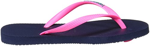 Havaianas Slim Logo, Infradito Donna Blu (Navy Blue/Pink 5557)