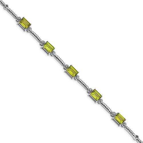 Sterling Silver Rhodium-plated Peridot & Diamond Bracelet -