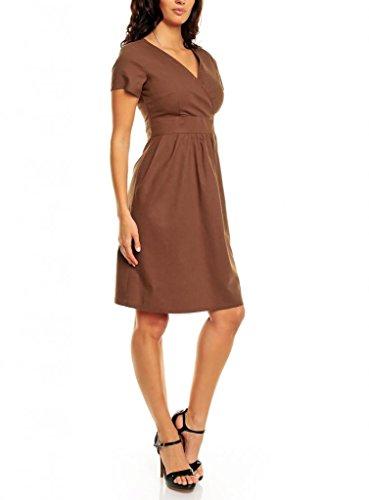 My Evening Dress Robe Habillée en Coton et Lin Manches Courtes Col en V Marron
