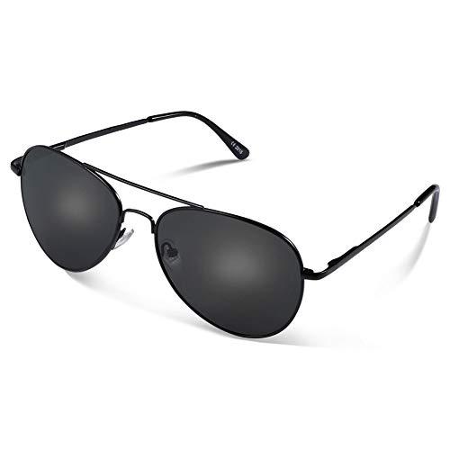 Occffy Pilotenbrille Sonnenbrille für Herren und Damen UV400 Schutz Metall Rahmen Oc7802 (Schwarze Rahmen mit Schwarze Linse)